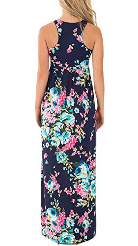 Dress Floral Demetory Dress Long Tank Top Maxi Navy Pocket with Sleeveless p0qwnqT1xd