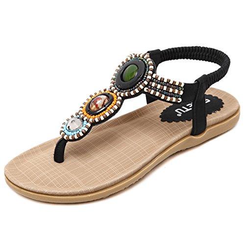 Thong Sandals Summer D2C Beads Beach Flat Beauty Women's Bohemian Black PnUR7a