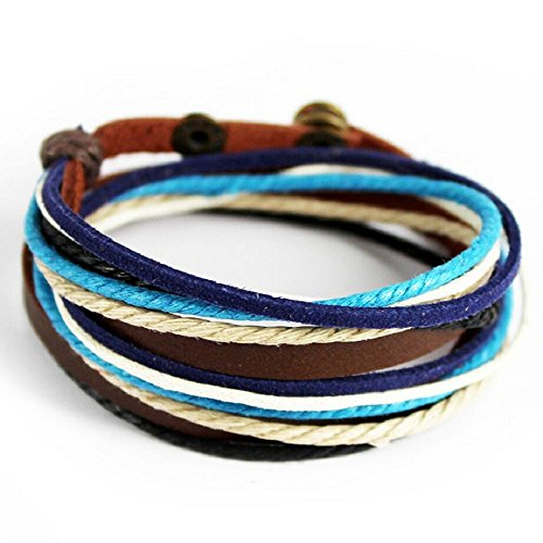 [Fariishta Jewelry Cotton Rope Hand Braided Leather Wrap Bracelet] (Dallas Wholesaler Costumes Jewelry)