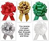 5.5 Inch Wide Pull Bows - 20 loops - 10 Pack Colors Mixed Collection Flora Satin 5.5'' Pull Bows - 20 loops - 10 Pack
