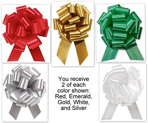 5.5 Inch Wide Pull Bows - 20 loops - 10 Pack Colors Mixed Collection Flora Satin 5.5'' Pull Bows - 20 loops - 10 Pack by B&P