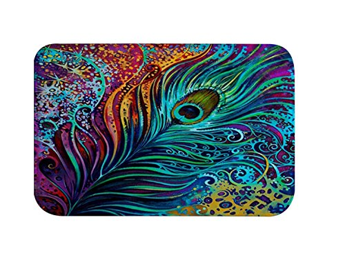 Colorful Peacock (Peacock Art Bathroom Shower Rug, IMEI Nature Flannel Soft Washable Comfort Rug Multi-use Doormat in Bathroom, Kitchen,Toilet Floor, Laundry 16X24 Inch (Colorful Peacock Feathers))