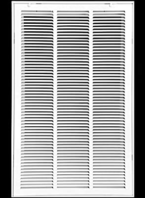 """18"""" X 30 Steel Return Air Filter Grille for 1"""" Filter - Removable Face/Door - HVAC Duct Cover - Flat Stamped Face - White [Outer Dimensions: 20.5 X 31.75]"""