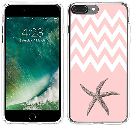 8 Plus Case Starfish, Hungo Soft TPU Silicone Protector Cover Case Compatible with iPhone 7 Plus / 8 Plus Pink Chevron Starfish