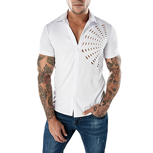 Price comparison product image SMALLE Fashion Personality Men's Casual Slim Top Zipper Lapel Short-Sleeve T-Shirt Blouse (L,  White)