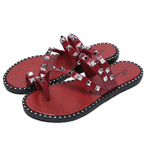 Btrada Mode Femmes Sandales-été Plage Clip Toe Tongs-anti-dérapant Appartements Rouge