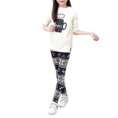 Allywit Christmas Children Trousers Printing Leggings Flower Baby Girls Pencil Pants (3T, Navy)