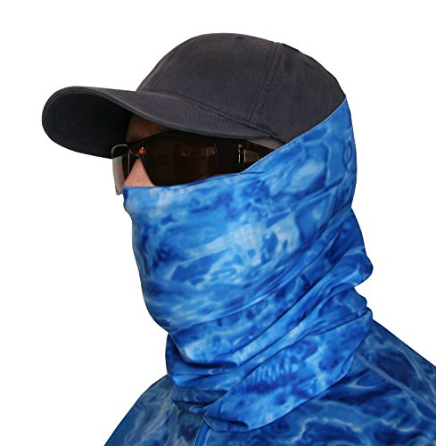 Aqua Design Hunting Fishing Mask Camo Multipurpose Face Tube Wind Sun Protection Shield Bandana Youth to XL Headband Gaiter, Royal Ripple, - All In One Swimming Costume Mens