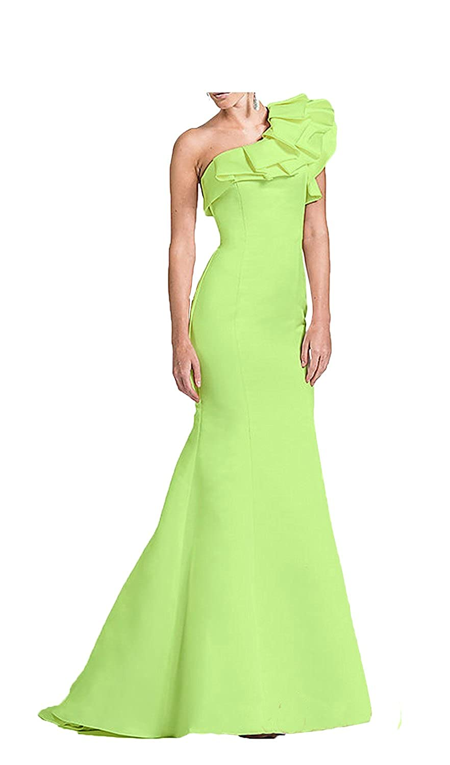 df011c79e196e Material: Satin;Feature:One shoulder;Mermaid;Ruffles;Sweep train. Fully  lined with built-in bra. In order to make dress perfect on you, we suggest  you offer ...