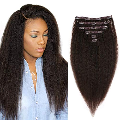 Kinky Straight Clip in Human Hair Extensions Clip ins 100% Remy Hair for Black Women Yaki Straight Clip ins Real Human Hair70Gram / 6Pcs (16 inch, 1B#) ()