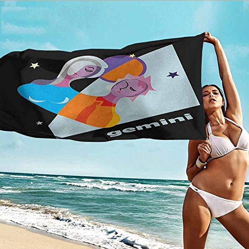 Antonia Reed Personalized Beach Towel Zodiac Gemini,Abstract and Artistic Astrology Design with Man Woman Day and Night Concepts,Multicolor,Bath Towel Personality Soft and Comfortable 32