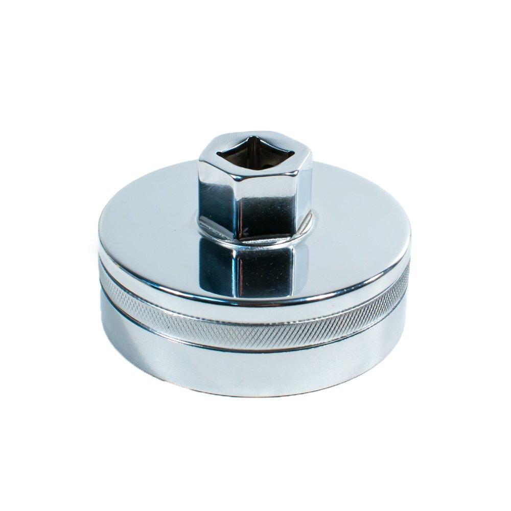 Tool Guy Republic Forged Chrome Vanadium Oil Filter Wrench Socket for Toyota Lexus Scion Oil Filter Housings - 64mm 14 Flats