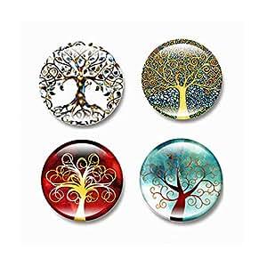 4pcs Beautiful Glass Refrigerator Magnets Fridge stickers Funny -Tree of Life