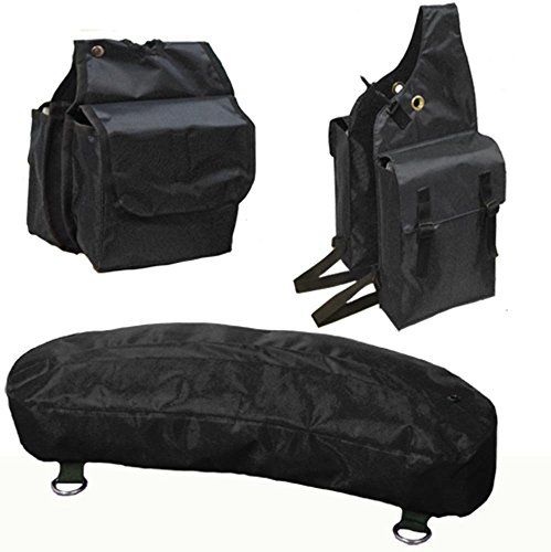 Tahoe Nylon Trail Riding Endurance Saddle Bag Set - Includes Saddle, Horn, and Cantle Bags - Durable Nylon Construction, Perfect for Holding Food, Beverages and Supplies - Multiple Colors Available