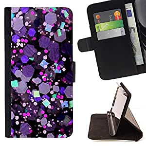 For Samsung ALPHA G850 Glitter Crystal Purple Hexagon Shiny Style PU Leather Case Wallet Flip Stand Flap Closure Cover