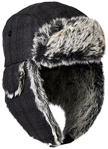 Dockers Men's Plaid Trapper Hat With Faux Fur Lining, Charcoal, Large/X-Large/36 (Faux Fur Trapper)