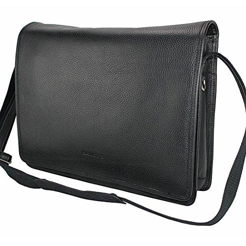 XL Arbeitstasche, Herrentasche, Herren Umhängetasche Schulter Tasche Messenger Bag Schwarz, Schwarz, Leder