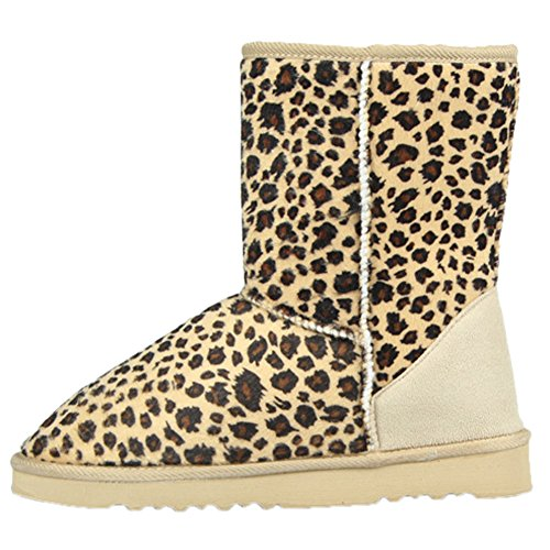 HooH Women's Snow Boots Winter Suede Warm Faux Fur Thicken Mid Calf Boots Slip On Leopard Hzr68S