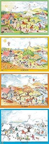 Clown Kallis fröhliche Jahreszeiten - Poster: Vier DIN A4 Poster zu den Jahreszeiten