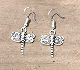 Silver Dragonfly charm Dangle earrings - dragonfly Art Nouveau jewelry
