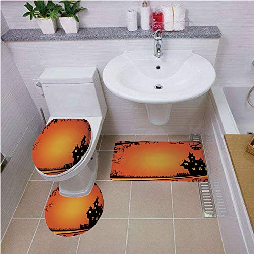 3 Piece Bathroom Contour Rugs ,Halloween,Framework with Curvy Tree Branches Swirls Leaves Gothic Castle Festival Decorative,Orange Yellow Black ,Bath mat set Round-Shaped Toilet Mat Area Rug Toilet Li ()