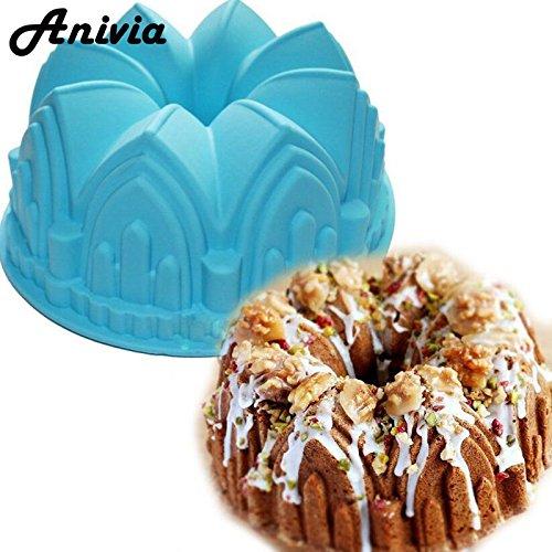 Star-Trade-Inc - Large Crown Swirl Bundt Silicone Mold Cake Single Pan Bread Chocolate Bakeware,Random Color
