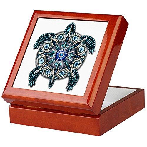 Turtle Indian - CafePress - Native American Turtle 01 - Keepsake Box, Finished Hardwood Jewelry Box, Velvet Lined Memento Box