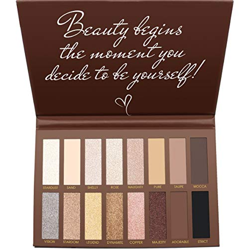 Best Pro Eyeshadow Palette Makeup – Matte Shimmer 16 Colors – Highly Pigmented – Professional Nudes Warm Natural Bronze…