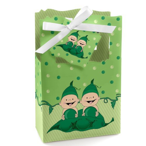 Twins Two Peas in a Pod - Baby Shower or Birthday Party Favor Boxes - Set of 12 ()