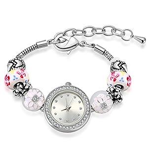 Bangle Watches for Women MANBARA Charm Watch for Girls Rhinestone Beaded Bracelet