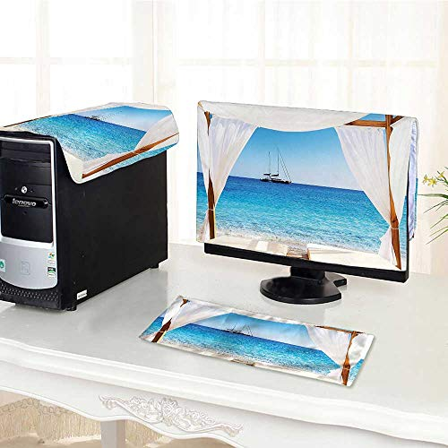 Flat Screen Protector 3 Pieces Beach Through A Balinese Bed Summer Sunshine Clear Sky Honeymoon Natural Spa Picture Anti-Static Vinyl /18