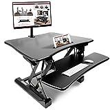 Duronic Sit Stand Desk DM05D3 Height Adjustable PC Laptop Workstation – for PC Computer Laptop | Monitor and Keyboard Riser | Ergonomic Desktop Table Converter – Compatible Desk Mount
