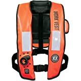Mustang Survival Corp Inflatable Work Vest with HIT (Auto Hydrostatic) with Back Flap and SOLAS Reflective Tape, Orange
