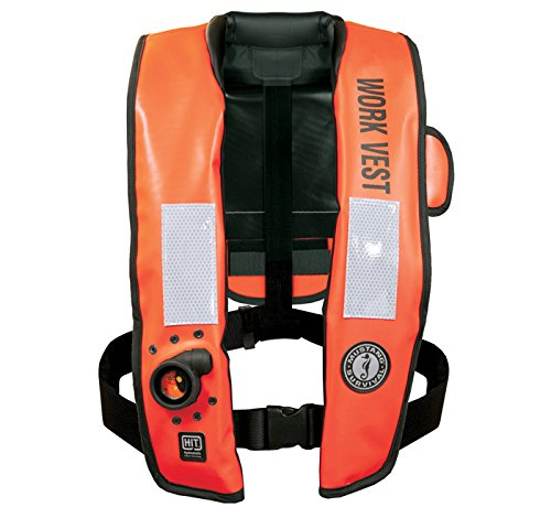 (Mustang Survival Corp Inflatable Work Vest with HIT (Auto Hydrostatic) with Back Flap and Solas Reflective Tape,)