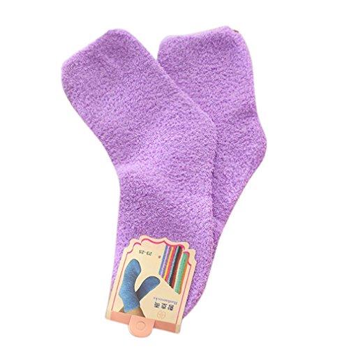 Tuscom@ Women Cute Autumn&Winter Keep Warm Deodorant Terry Socks (Purple)