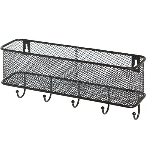 modern black wall mounted 5 key hook rack with metal wire mesh import it all. Black Bedroom Furniture Sets. Home Design Ideas