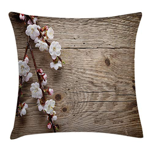 """Ambesonne Rustic Throw Pillow Cushion Cover, Romantic Springtime Cherry Blossom Branch Over an Old Table Love Valentine's Day, Decorative Square Accent Pillow Case, 16"""" X 16"""", White Brown"""