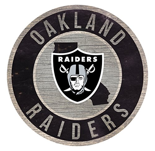 Oakland Athletics Wood Sign - Fan Creations Oakland Raiders Wood Sign 12 Inch Round State Design
