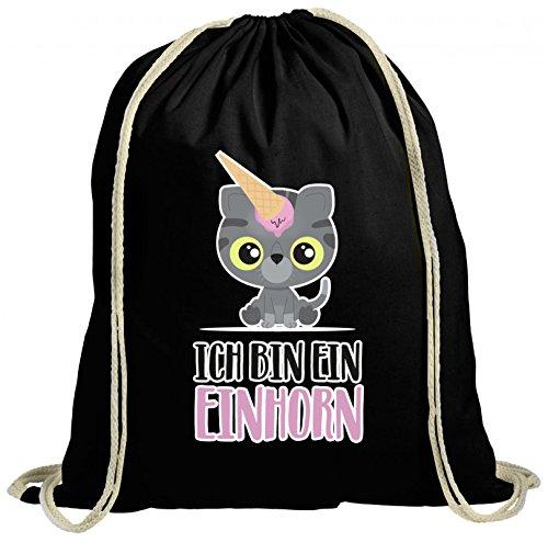 ShirtStreet süße Geschenkidee Kätzchen Unicorn Eis Ice Cream natur Turnbeutel Rucksack Gymsac Katze - Ich bin ein Einhorn Schwarz