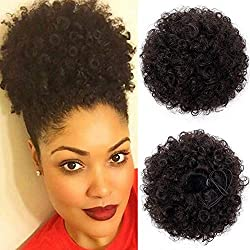 Synthetic High Puff Afro Ponytail Drawstring Afro Buns Hair Piece Short Afro Kinky Hair Extension Puff Ponytail Wrap Updo Hair Extensions with 2 Clips(Brown-4#)