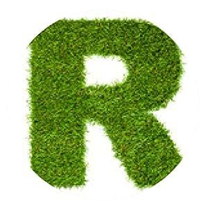 my-puzzle-design alfombrilla de ratón Letra R hecha de hierba verde aislado en blanco - ronda - 20cm