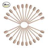 Aneil 24 Pcs 6.3 Inch Little Wooden Honey Dipper Stick Bulk, Wood Bee Dippers