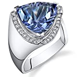 7.00 Carats Simulated Alexandrite Ring Sterling Silver Concave Trillion Cut Size 7