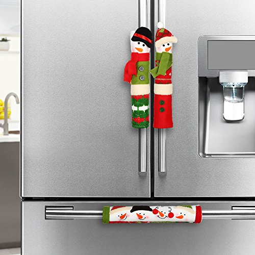 Best Christmas Ornaments - Snowman Christmas Decorations - Set of 3 Kitchen Handle Covers - Best Xmas Decoration Idea