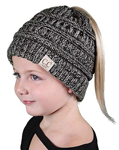 BT2-3847-816.21 Kids Messy Bun Ponytail Hat Girls Beanie Tail - Grey  fa1b45255b6b
