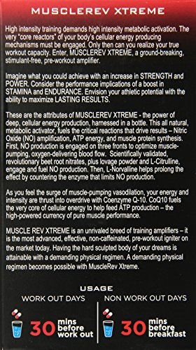 RevLabs MuscleRev Xtreme Premium Nitric Oxide Supplement Build Muscle and Strength while Boosting Blood Flow, Stamina and Endurance Stimulant Free Pre Workout Amplifier 30 Servings
