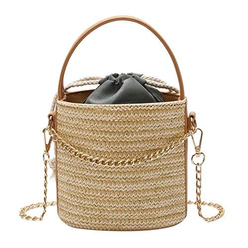 FINIFLY 2018 NEW Drawstring Woven Top Handle Straw Bucket Women Chain Messenger Crossbody Shoulder Bags Beach Bag by FINIFLY
