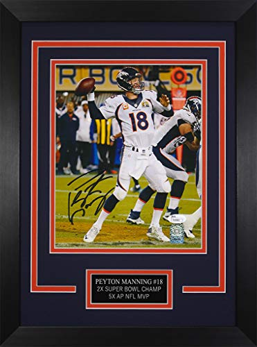 Peyton Manning Autographed Broncos Photo - Beautifully Matted and Framed - Hand Signed By Peyton Manning and Certified Authentic by JSA - Includes Certificate of Authenticity - Deisgn 8C