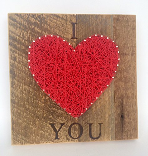 Large red I LOVE YOU steing art heart sign made on reclaimed (Custom Reclaimed Wood)