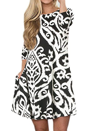 Neck Round Dresses Maternity (OURS Women's Floral Print Long Sleeve Casual Damask Dress with Pockets (White, L))